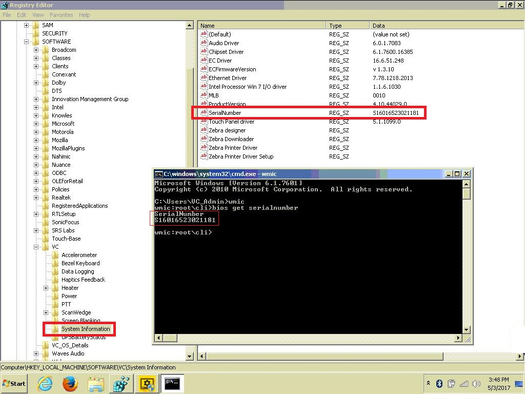 Retrieving device's serial number from registry and WMIC tool