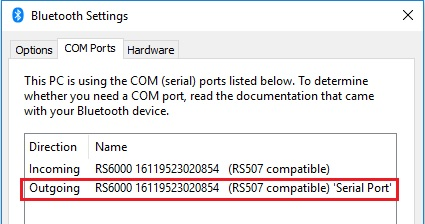 RS6000 SPP Mode Slave - Pair and Connect with Windows 10