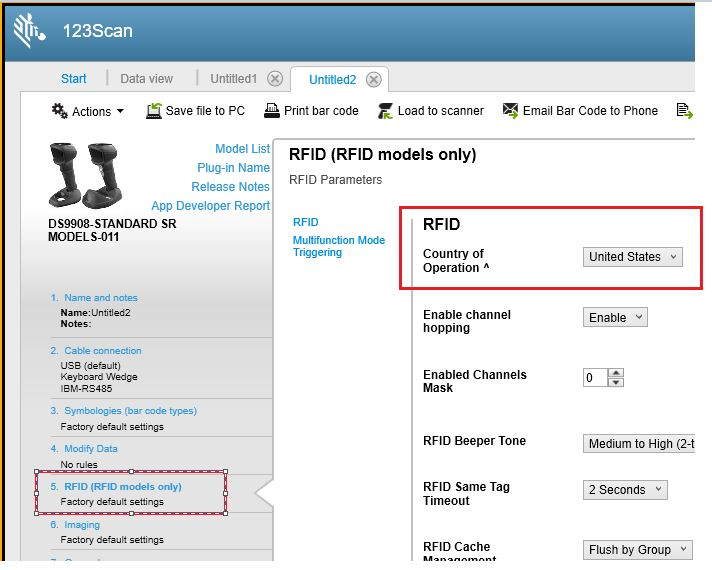 DS9908-R Set country of operation to enable RFID functionality